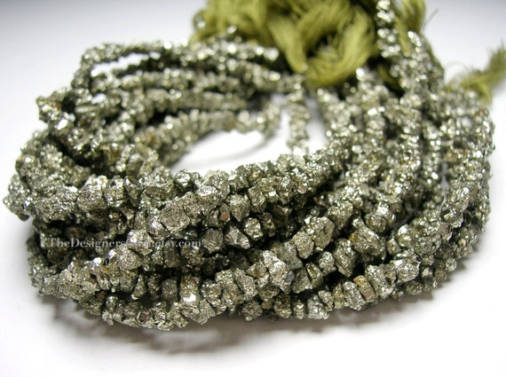 Natural Sparkling Pyrite Rough Cut Nuggets 4 to 6mm - 1/2 Strand