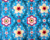 SALE - Cotton fabric, Blue floral fabric, floral fabric - 1 yard Flowers on bondi blue - Japanese Fabric - Sale fabric - Fabric Destash