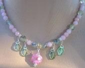 Pink Flower and Leaf Necklace
