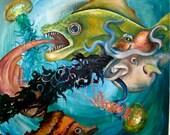 Original surreal fish jellyfish octopus painting