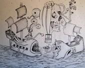 Original, Surreal pirate ship ink drawing