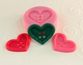 Heart Button Flexible Silicone Mold/Mould (28mm) for Crafts, Jewelry, Scrapbooking, (resin, pmc, polymer clay) (251)