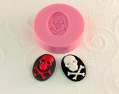 Skull Crossbones Cameo Cabochon Flexible Silicone Mold/Mould (18mm 13mm) for Crafts, Jewelry, Scrapbooking, (resin, pmc, polymer clay) (260)
