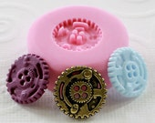 Small Steampunk Button Gear Mold/Mould  Flexible Silicone Resin Polymer Clay Sewing  (274)