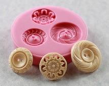 Vintage Button Casting Mold  Flexible Silicone Mold/Mould for Crafts, Jewelry, (chocolate, fondant, candy, resin, pmc, polymer clay) (288)