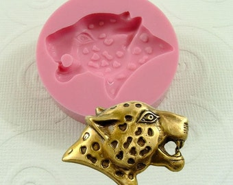 Leopard Head Flexible  Mold/Mould (30mm) for Resin Polymer Clay Wax Fondant Chocolate  (162)