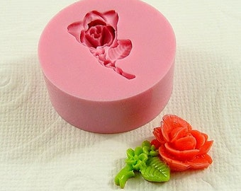 Stemmed Rose Flexible Silicone Mold/Mould (23mm) for Crafts, Jewelry, Scrapbooking, (resin, pmc, polymer clay) (165)