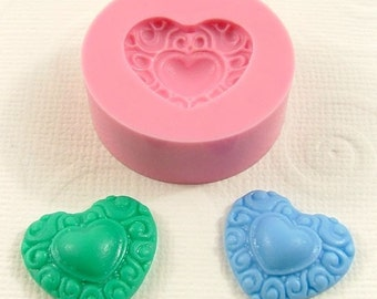 Heart  Flexible Silicone Mold/Mould (20mm) for Crafts, Jewelry, Scrapbooking, (resin, paper,  pmc, epoxy, polymer clay) (176)