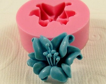 Lily Flower Cabochon Flexible Silicone Mold/Mould (18mm) for Crafts, Jewelry, Scrapbooking, (resin,  pmc, polymer clay) (209)