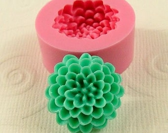 Chrysanthemum Pom Pom Cabochon Flexible Silicone Mold/Mould (20mm) for Crafts, Jewelry, Scrapbooking, (resin,  pmc, polymer clay) (210)