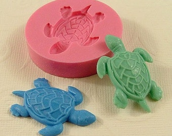 Sea Turtle Cabochon Flexible Silicone Mold/Mould (36mm) for Crafts, Jewelry, Scrapbooking, (wax, resin,  pmc, utee,  polymer clay) (219)