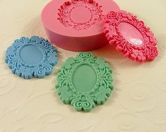 Victorian Cabochon Frame Setting Flexible Silicone Mold/Mould  for Crafts, Jewelry, Scrapbooking, (soap, resin,  pmc, polymer clay) (220)