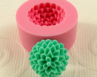 Pom Pom Chrissy Mum Flower Cabochon Flexible Mold/Mould (13mm) for Crafts, Jewelry, Scrapbooking, (resin, paper,  pmc, polymer clay) (211)