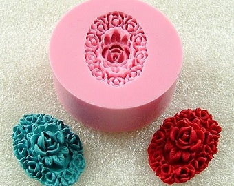 Filigree Rose Oval Cabochon  Flexible Mini Mold/Mould (24mm) for Crafts, Jewelry, Scrapbooking   (resin,  pmc,  polymer clay) (123)