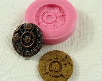 Steampunk Gear Disk Disc Cabochon Silicone Mold/Mould (23mm)  chocolate, fondant, resin, pmc, polymer clay (248)