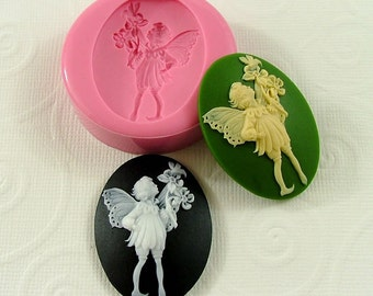 Fairy Cameo Flexible Silicone Mold/Mould (40mm) for Crafts, Jewelry, Scrapbooking, (wax, soap, resin, pmc, polymer clay) (247)
