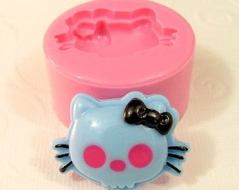 Kitty Skull Mold Flexible Silicone Mould Cabochon Mold Resin Polymer Clay Utee PMC Fimo Sculpey (276)