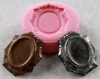 Miniature frame mold for 18mm Cameo Resin Mold Polymer Clay mold (285)