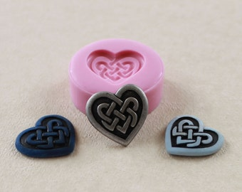 Celtic Heart Mold Silicone Mold Mould Polymer Clay Resin PMC Flexible Mold (255)