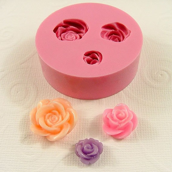 Flower Cabochon Mold Roses  Asst. Sizes Flexible Silicone  Mold Mould  resin  pmc  polymer clay molds (183)