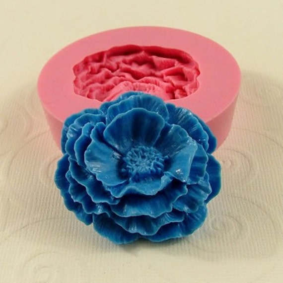 Large Cabbage Rose Flexible Silicone Mold/Mould (42mm) fondant, chocolate, soap, resin, paper,  pmc, polymer clay) (215)