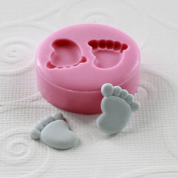Baby Feet Flexible Mini Mold/Mould (12mm) for Crafts, Jewelry, Scrapbooking (resin, paper,  pmc, epoxy, polymer clay ) (133)