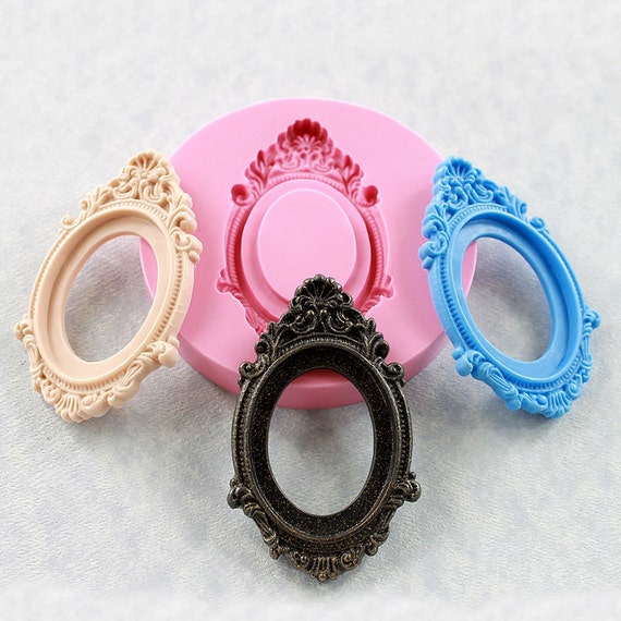 Cameo Setting Frame Silicone Mold Hot Glue Resin Polymer Clay Chocolate Fondant Jewelry Cabochon (303)