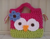 Pink and Lime greenToddler size Owl Purse - crochet purse for toddler girl