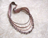 Ribbon and Chain Necklace - Copper Chain and Bead