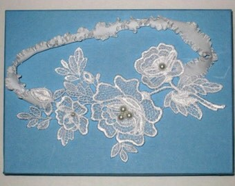 SALE - White Floral Venise Lace Applique with Pearls Bridal Garter - Ready To Ship