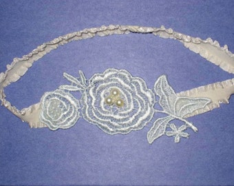 SALE - Blue Floral Venise Lace Applique on Cream Ruffle Stretch with Pearls Bridal Garter - Ready To Ship