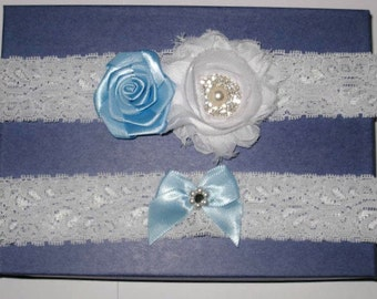 White Lace with White Chiffon Flower and Blue Satin Flower with Rhinestones and Pearl Bridal Center Garter Set of Two - Ready To Ship