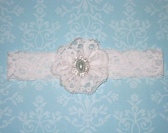SALE - White Lace Garter, White Lace Bow, Sage Green Pearl with Rhinestone Center. Vintage. Bridal Garter. Wedding Garter - Ready To Ship