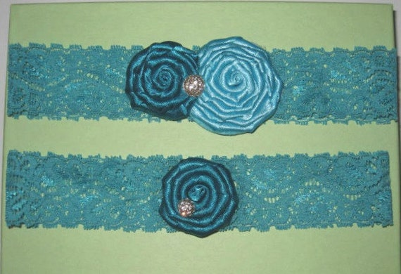 Turquoise Lace and Satin Rosettes Garter with Rhinestones Bridal Garter Set of Two - Ready To Ship