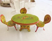 SALE Antique Tin Toy Table and Chairs for Doll or Child Butterfly Art Nouveau Style