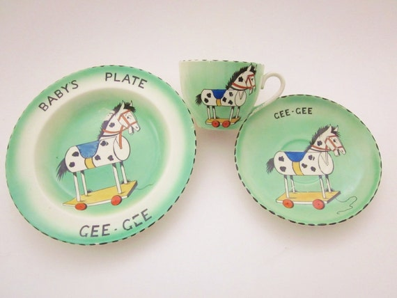 RESERVED FOR JULIE  Toy Horse Burleigh Ware 1930s Cup Saucer Plate Hand Painted