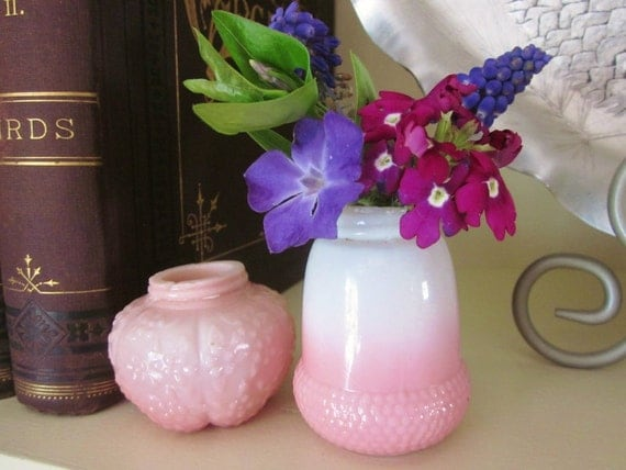 Antique Shakers or Tiny Flower Vases Hobbs Glass Acorn and Challinor Taylor Forget Me Not