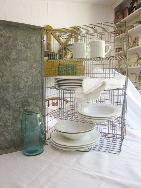 Vintage Wire Cage Makes Great Shelf or Serving or Display Piece
