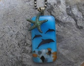 Starfish and Dolphin Necklace Fused Glass Dolphin Pendant