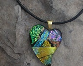 Heart Pendant Fused Dichroic Glass Heart Necklace