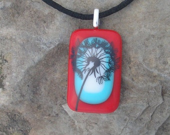 Dandelion Wish Necklace Fused Glass Dandelion Pendant
