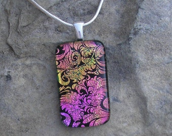 Rainbow Plume Necklace Fused Dichroic Glass Pink Pendant