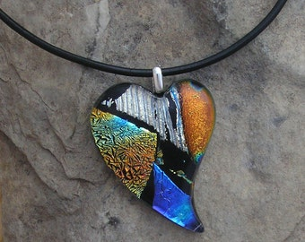 Heart Pendant Fused Dichroic Glass Necklace