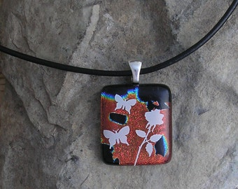 Rose and Butterfly Pendant Dichroic Fused Glass Necklace