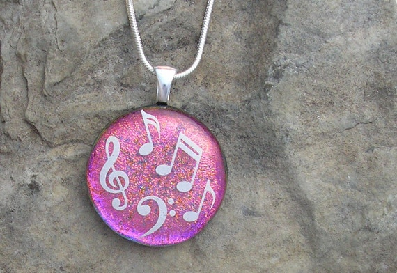 Music Pendant Necklace Dichroic Glass Jewelry