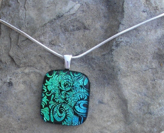 Green Plume Necklace Fused Dichroic Glass Teal Pendant