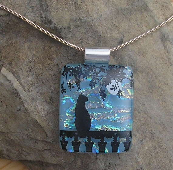 Moon Cat Pendant Dichroic Fused Glass Jewelry Necklace