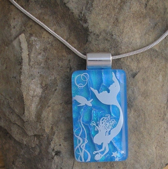 Mermaid Pendant Dichroic Fused Glass Necklace