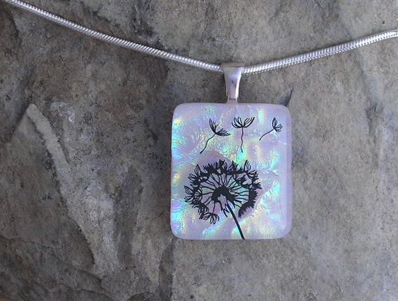 Dandelion Wish Necklace Dichroic Fused Glass Pendant Jewelry