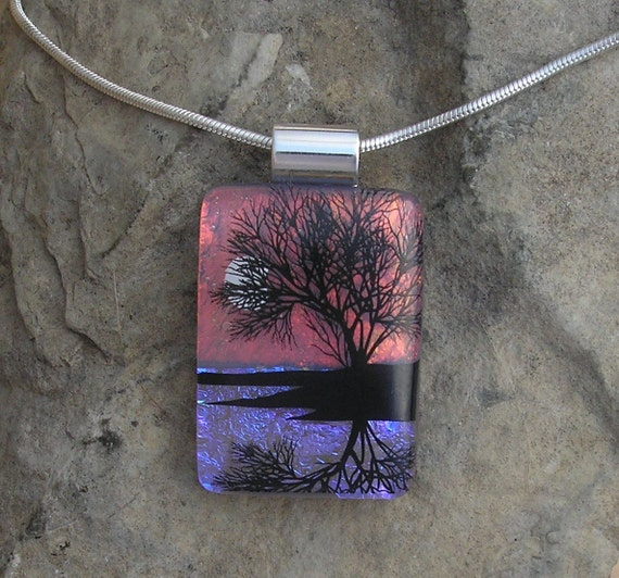 Reflection Tree Necklace Dichroic Glass Pendant